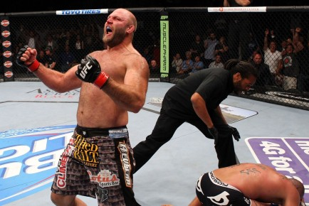 Ben Rothwell celebrates his victory over Brandon Vera. (Photo: Ed Mulholland/Zuffa LLC/Getty Images)